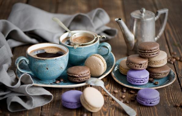 Картинка кофе, зерна, печенье, чашки, десерт, выпечка, cup, сладкое, sweet, coffee, dessert, cookies, pastry, macaron, макарун