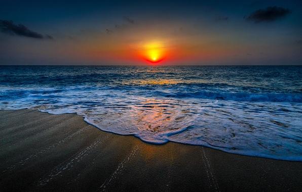 Картинка Закат, Солнце, Небо, Вода, Песок, Облака, Океан, Пляж, Горизонт