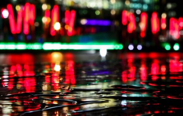 Фото обои вода, отражение, Огни