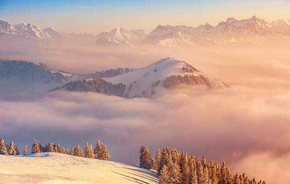 Картинка облака, пейзаж, горы, вершина, Switzerland