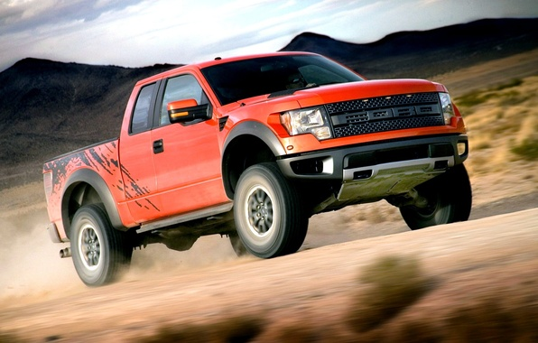 Картинка Ford, Скорость, Форд, Orange, Раптор, Car, Автомобиль, Raptor, Wallpapers, Внедорожник, Мощь, F-150, SVT, Обоя, СВТ