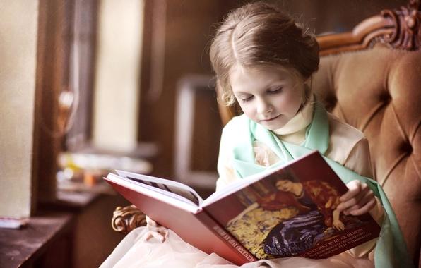 Картинка кресло, девочка, книга, любопытство, чтение, барышня
