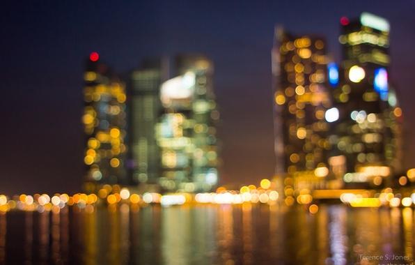 Картинка свет, ночь, город, огни, Сингапур, боке