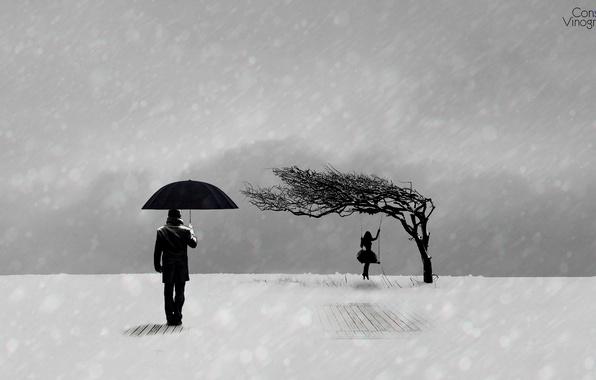 Картинка зима, грусть, девушка, настроение, минимализм, черно-белое, парень