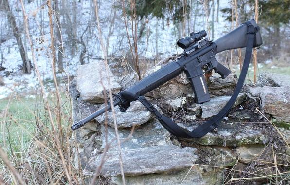 Картинка камни, оружие, автомат, AR-15, штурмовая винтовка