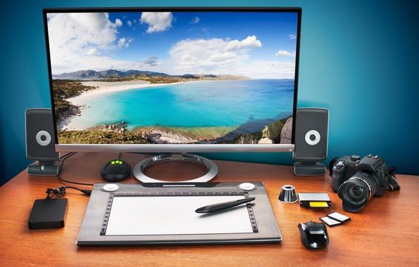 Картинка карты, пейзаж, стол, мышь, фотоаппарат, колонки, жесткий, рабочий, монитор, диск, планшет, тропический, hi-tech, боке, компьютерная, …