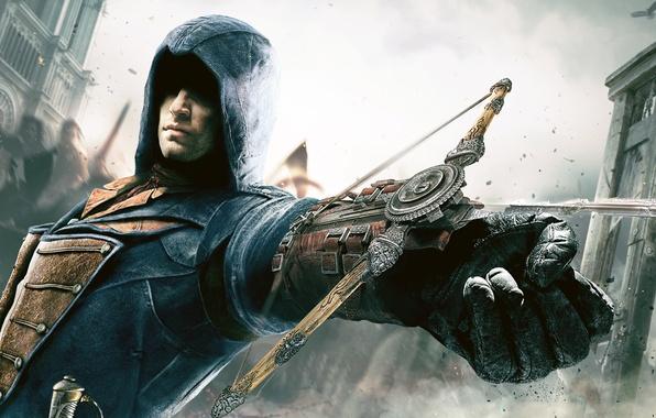 Картинка небо, здание, рука, капюшон, убийца, народ, Ubisoft, арбалет, Ассассин, Арно, Assassin's Creed: Unity
