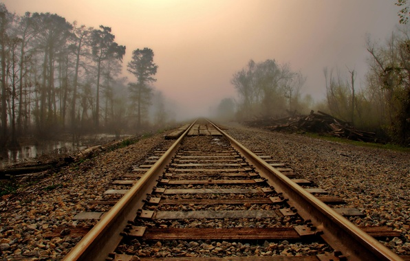 Картинка дорога, пейзаж, туман, рельсы, утро