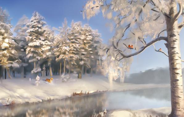Картинка зима, снег, деревья, пейзаж, река, земля, лиса, лис