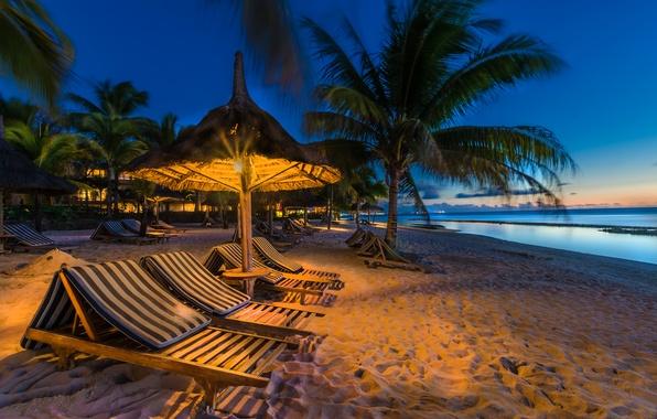 Обои песок море пляж огни тропики пальмы побережье
