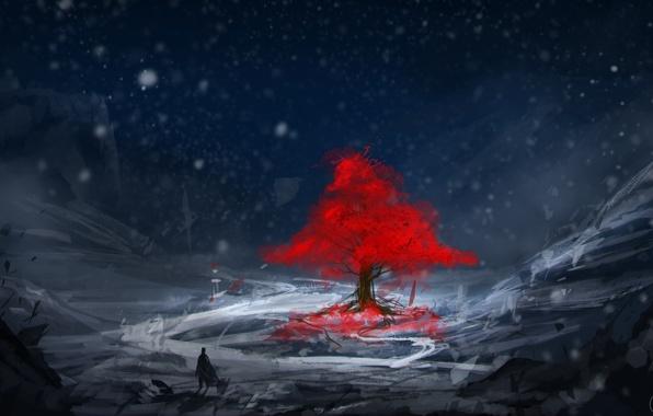 Фото обои зима, холод, снег, арт, Carlos Arthur, красное дерево, листья