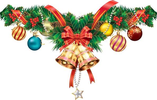 Картинка ягоды, праздник, шар, вектор, лента, бант, шишка, колокольчик, открытка