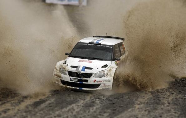 Картинка Авто, Белый, Спорт, Машина, Гонка, Грязь, Лужа, Брызги, WRC, Rally, Ралли, Skoda, Fabia, Фабия