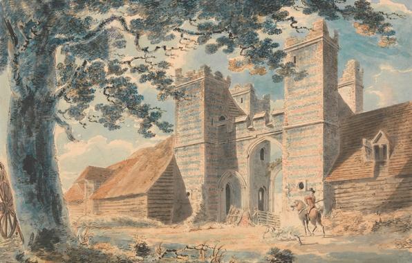 Картинка пейзаж, город, дерево, картина, ворота, акварель, всадник, Уильям Тёрнер, Дент-де-Лайон-роуд, Маргит