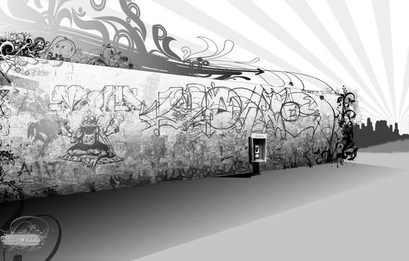 Картинка стена, граффити, черно-белая, телефон