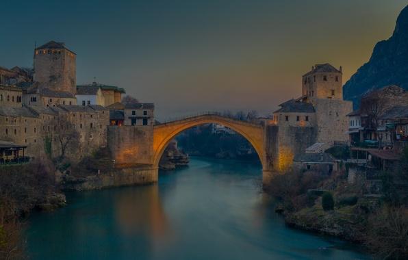 Картинка небо, мост, река, гора, городок, сумерки, photographer, Ruzdi Ekenheim
