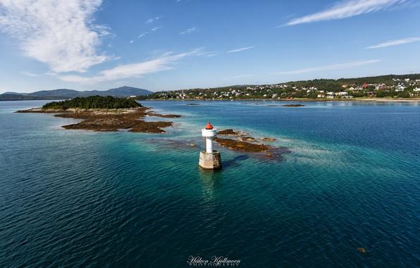 Картинка море, природа, берег, маяк, деревня