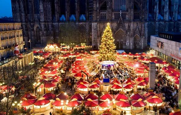 Картинка огни, Германия, площадь, Рождество, собор, ярмарка, Кельн