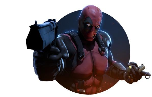 Картинка пистолет, граната, маска, злодей, убийца, наемник, deadpool, Marvel Comics, Wade Wilson, Wade Winston Wilson