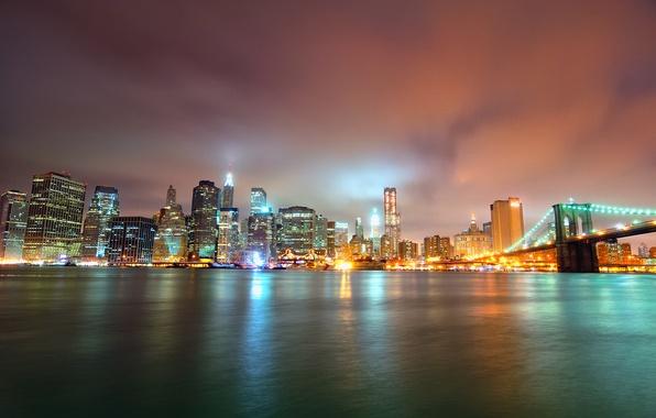 Картинка ночь, мост, огни, небоскребы, Bridge, Brooklyn, Night, Park, Manhattan, NYC, Lower