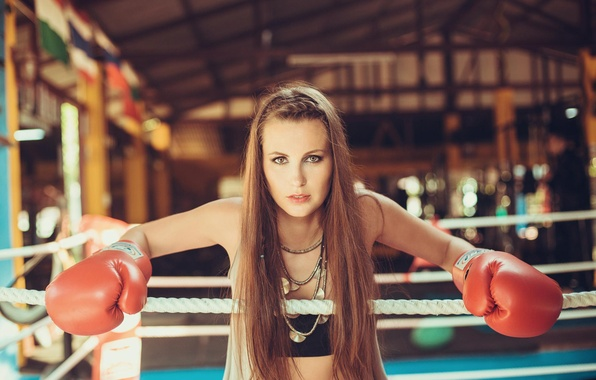 Картинка взгляд, девушка, бокс, перчатки, ринг