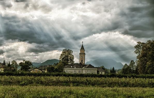 Картинка поле, солнце, облака, горы, деревня, церковь