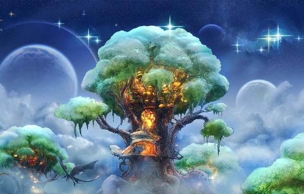 Картинка небо, облака, дерево, дракон, планеты, звёзды, фэнтези, арт, домик, полёт, house, fantasy, sky, style, art, …