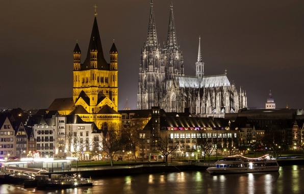 Картинка ночь, огни, река, дома, Германия, собор, Кельн