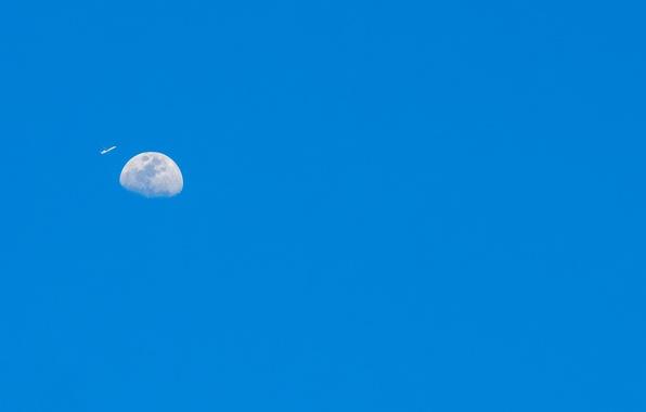 Картинка небо, самолет, планета, Луна