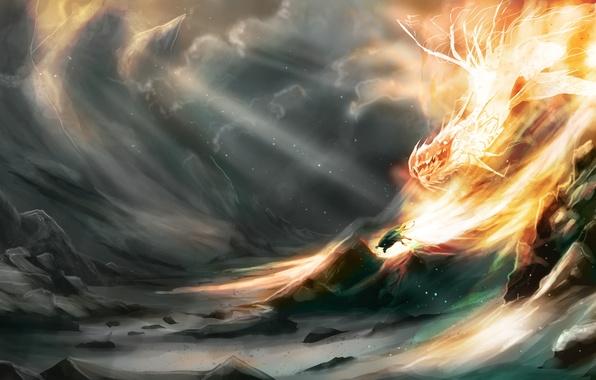 Картинка тучи, камни, фантастика, скалы, огонь, пламя, дракон, существо, арт, убегает