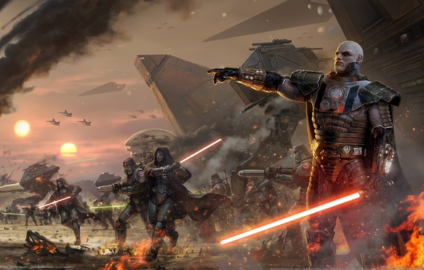 Картинка нападение, световой меч, ситх, Star wars, old republic, дарт малгус