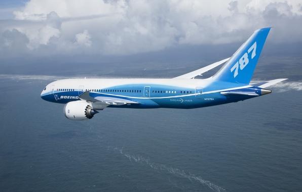 Картинка облака, 787, полёт, boeing, боинг, dreamliner
