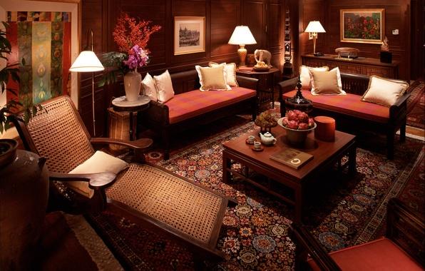 Картинка цветы, дизайн, стиль, комната, интерьер, подушки, кресла, картины, столик, диваны, гостиная
