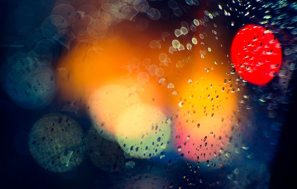 Картинка макро, свет, ночь, город, блики, дождь, боке