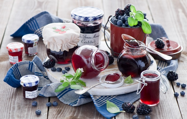 Картинка ягоды, черника, баночки, банки, ежевика, джем, варенье, ложки, Anna Verdina