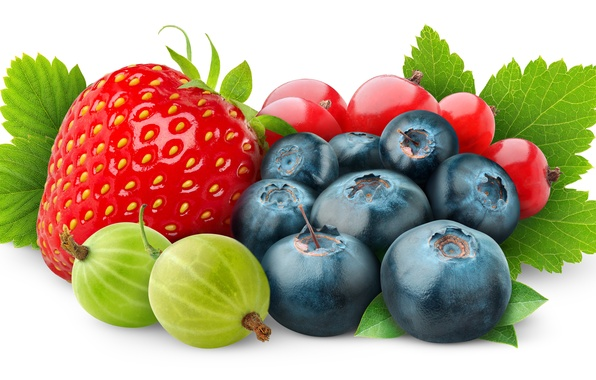 Картинка ягоды, черника, клубника, крыжовник, красная смородина
