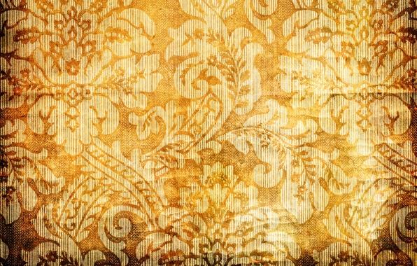 Картинка цветы, оранжевый, желтый, фон, узоры, текстура, лепестки, золотой, gold, design, yellow, patterns, flowers, orange