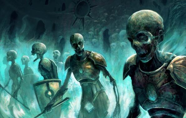 Картинка магия, армия, арт, зомби, черепа, скелеты, нежить