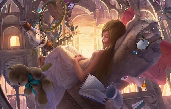 Картинка замок, сюрреализм, игрушки, лампа, сон, медведь, арт, девочка, арка, книга, бусины, reishin, зеркальце, спин