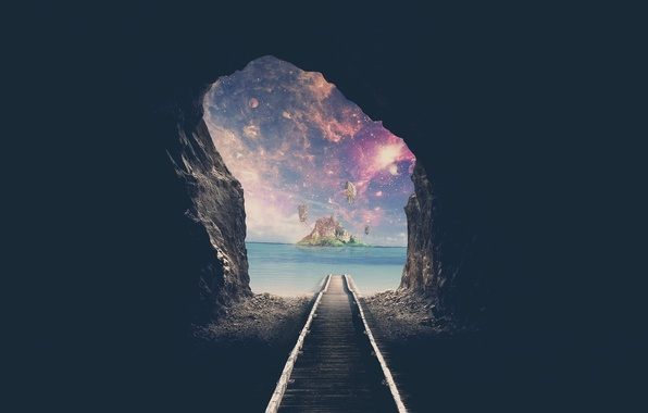 Картинка море, вода, космос, путь, океан, луна, остров, железная дорога, голубая