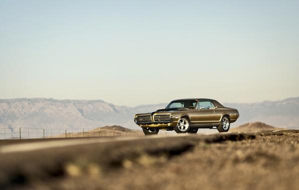 Картинка дорога, небо, горы, фары, забор, колеса, Cougar, 1967, Mercury