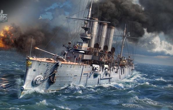 Картинка море, корабль, выстрел, крейсер, Diana, World of Warships, Мир Кораблей
