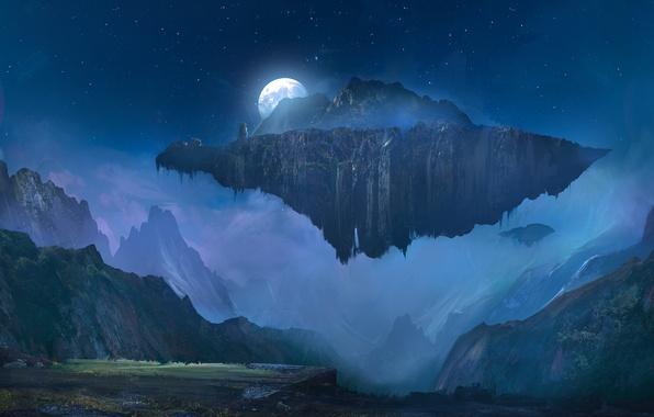 Картинка небо, звезды, горы, ночь, луна, остров, полнолуние, art, летающий остров