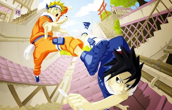 Картинка Аниме, Наруто, Naruto, art, Uchiha Sasuke, Учиха Саске, Uzumaki Naruto, Узумаки Наруто