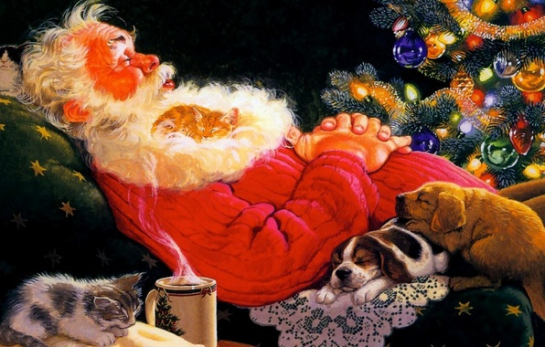 Картинка рисунок, елка, картина, кресло, щенки, пар, спит, кружка, котята, ёлка, черный фон, Санта Клаус, Дед …