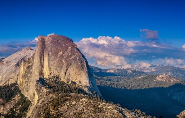 Картинка лес, облака, горы, природа, США, национальный парк, Yosemite national park, Йосе́митский национальный парк