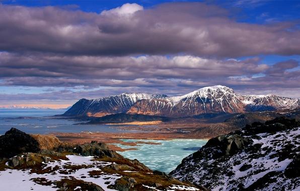 Картинка море, небо, облака, снег, природа, камни, холмы, голубое, мох, Горы, синее