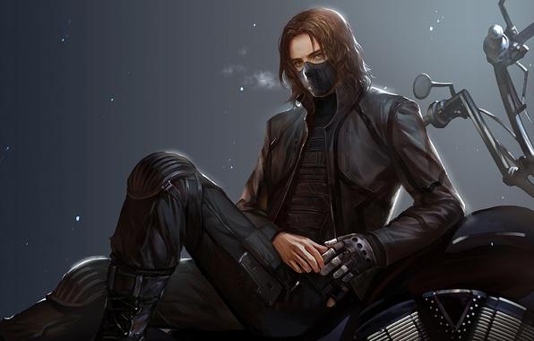 Картинка маска, пар, мотоцикл, Парень, металлическая рука