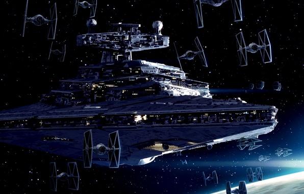 Картинка Star Wars, Art, Star Destroyer, TIE fighters, Imperial Starfleet