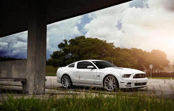 Картинка Mustang, Ford, Muscle, Car, Front, Sun, White, CVT, Vossen, Wheels